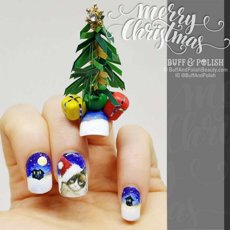 Hand Painted Christmas Nail Art: Christmas And Winter Holidays Images