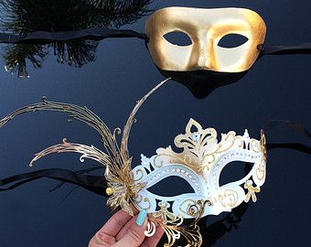 His & Hers Couples Masquerade Mask Silver Filigree by 4everstore