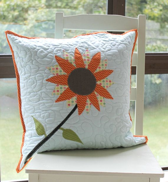 Sunflower Pillow Cover Pattern Applique by stickysugarstitches, $8.00
