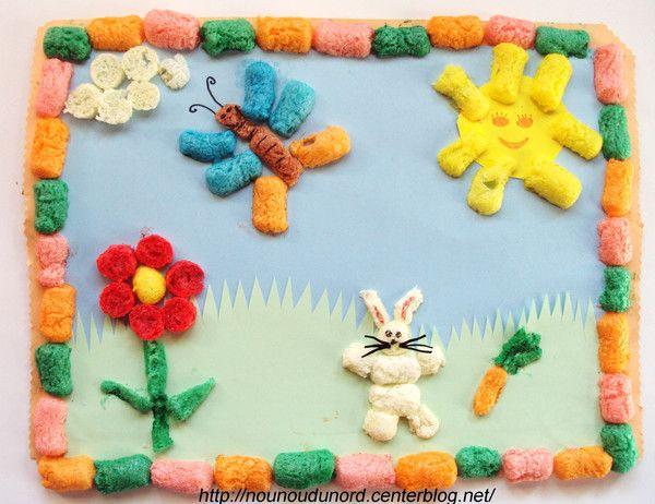 tableau de Pâques réalisé avec des flocons de maïs