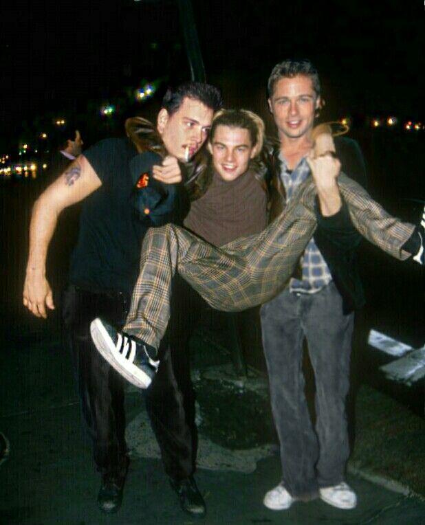 Johnny Depp, Leonardo DiCaprio and Brad Pitt. 90s