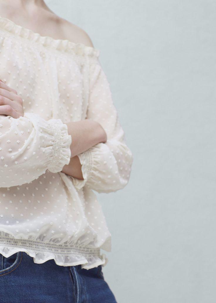 Полупрозрачная блузка в крапинку | MANGO МАНГО