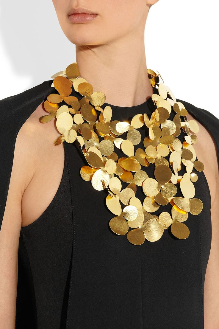 Hervé Van der Straeten Hammered gold-plated bib necklace