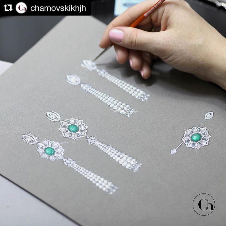 #Repost @chamovskikhjh (@get_repost) ・・・ Чтобы создать украшение, с достоинством носящее имя бренда Chamovskikh, наши мастера проработают драгоценность в мельчайших деталях даже на этапе эскиза. #Виктория_CHAMOVSKIKH_JH #CHAMOVSKIKH_JH