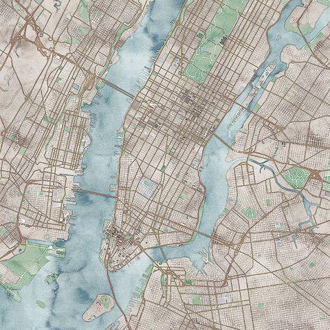 Karte von New York City auf Leinwand Stadtkarten von CanvasCityMaps