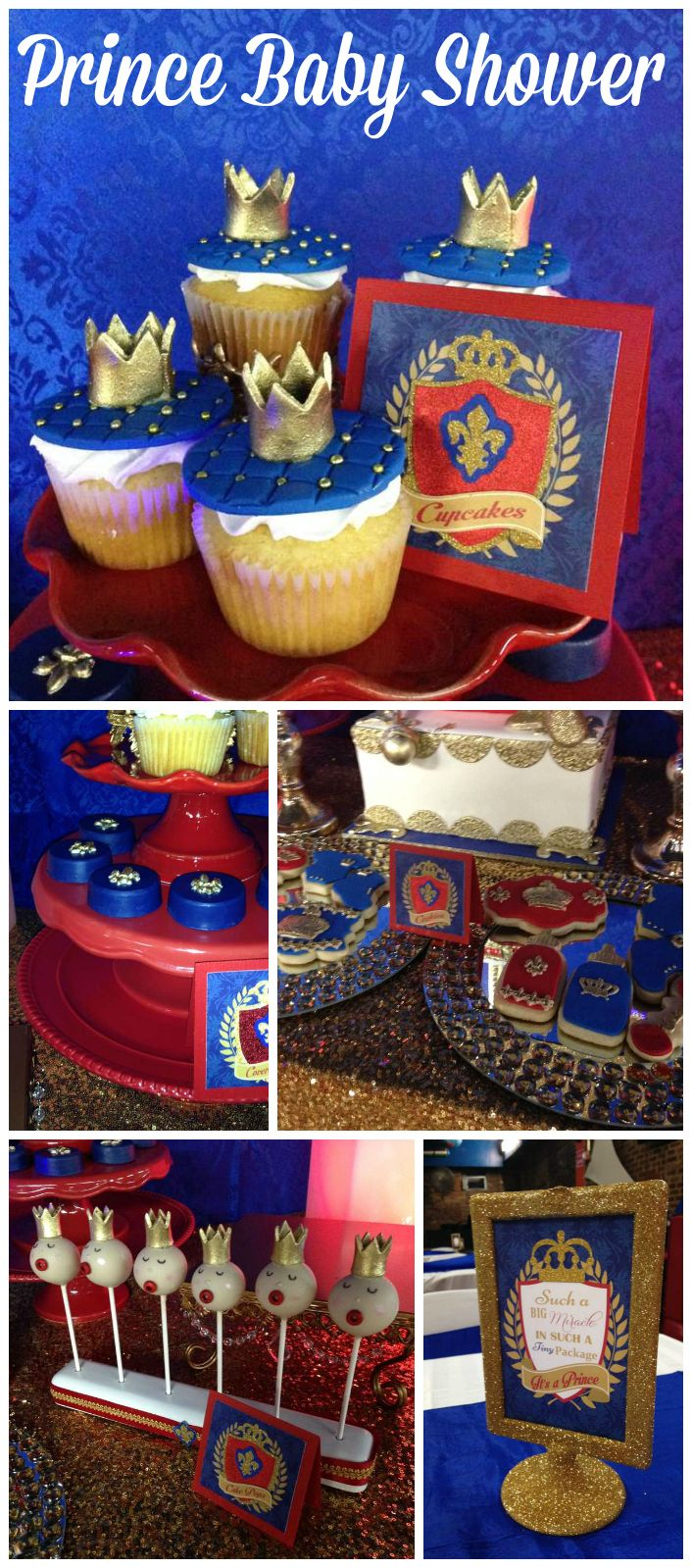A royal prince baby shower party with crown topped cupcakes and cake pops! See more party planning ideas at CatchMyParty.com!