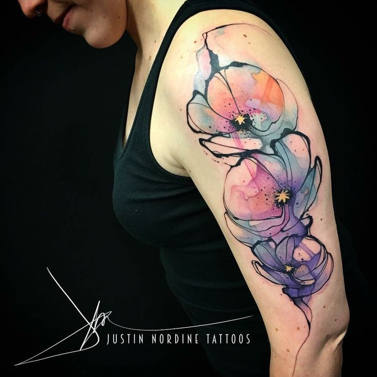 coolTop Watercolor tattoo - Justin Nordine abstract watercolor tattoo...