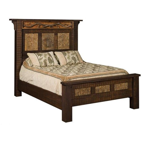 Amish Glen Arbor Rustic Panel Bed ($3,390) ❤ liked on Polyvore featuring home, furniture, beds, handcrafted furniture, systems furniture, queen furniture, queen bed and two tone furniture