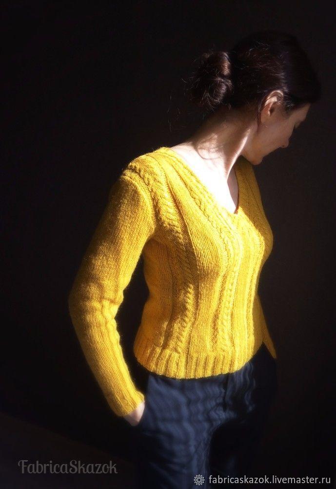 Купить Женский джемпер горчичного цвета, ручная вязка - горчичный цвет, желтый цвет