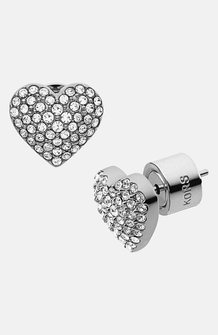 Glitz And Glam Pavé Heart Stud Earrings
