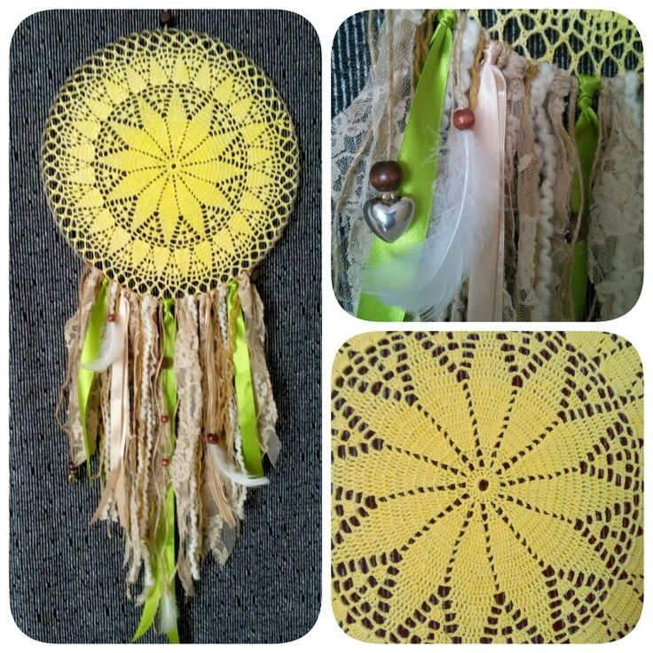 Yellow sunny big bohostyle dreamcatcher with lace, wooden bean details / 30cm