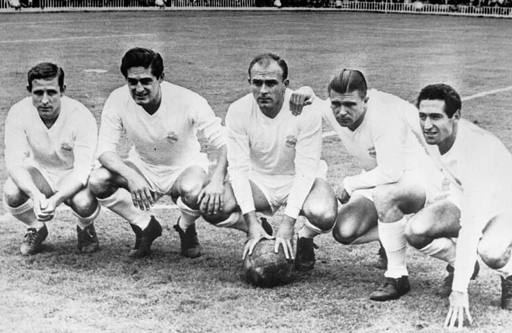 Ferenc Puskas--- scored an incredible 83 goals in 84 appearances for Hungary. FIFA now names an award after him for the 'Best goal of the year'. Here he is (2nd from right) with legendary Real Madrid teammates Kopa, Rial, Di Stefano  Gento.