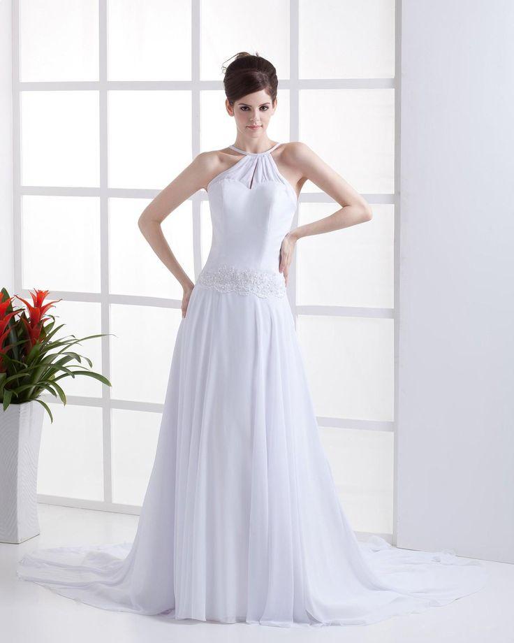 Halter Chiffon sleeveless Wedding Dress   Read More:     www.weddingsred.c…