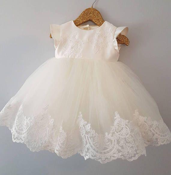 fdde8c8c222f7 Lace, Satin& Tulle Christening Dress DESCRIPTION: This beautiful ...