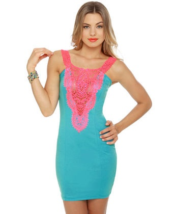 Patio party pink and blue dress