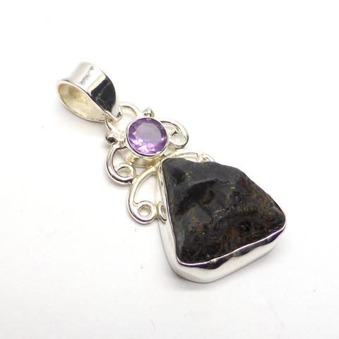 Black Tourmaline Pendant with Amethyst | 925 Sterling Silver | Gemmy Nuggets actually very deep yellow gold | Raw Uncut | Crystal Heart Melbourne Australia since 1986