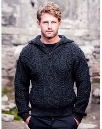 Aran Suéter con cremallera Cuello - Carbón