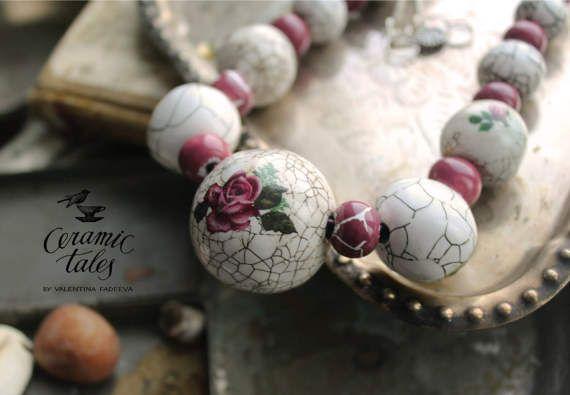 Vintage Rose Ceramic Necklace White Beads Dusty от CeramicTale