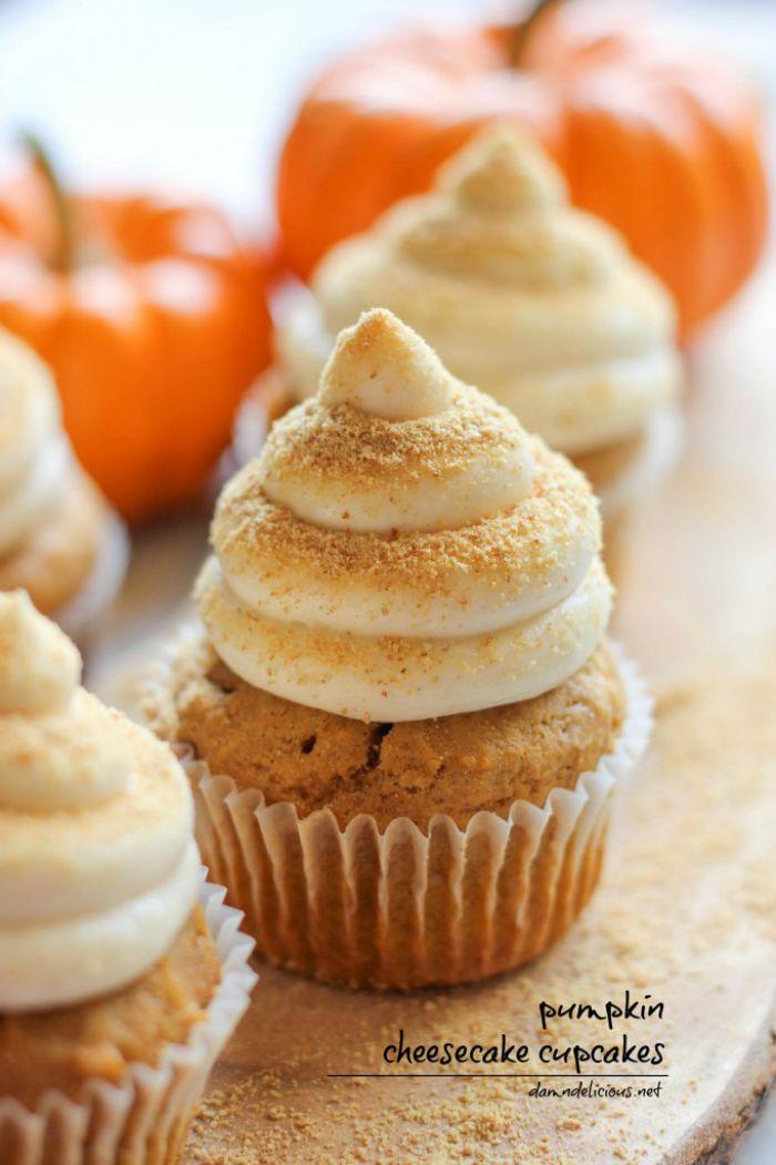 Pumpkin Cheesecake Cupcakes | Fall Inspired Cupcakes | Apple Cupcakes, Pumpkin Cupcakes and more | www.madewithHAPPY.com