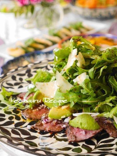 牛ステーキ肉でおもてなし一品♪『牛タタキとアボカドのカルパッチョ風 ...