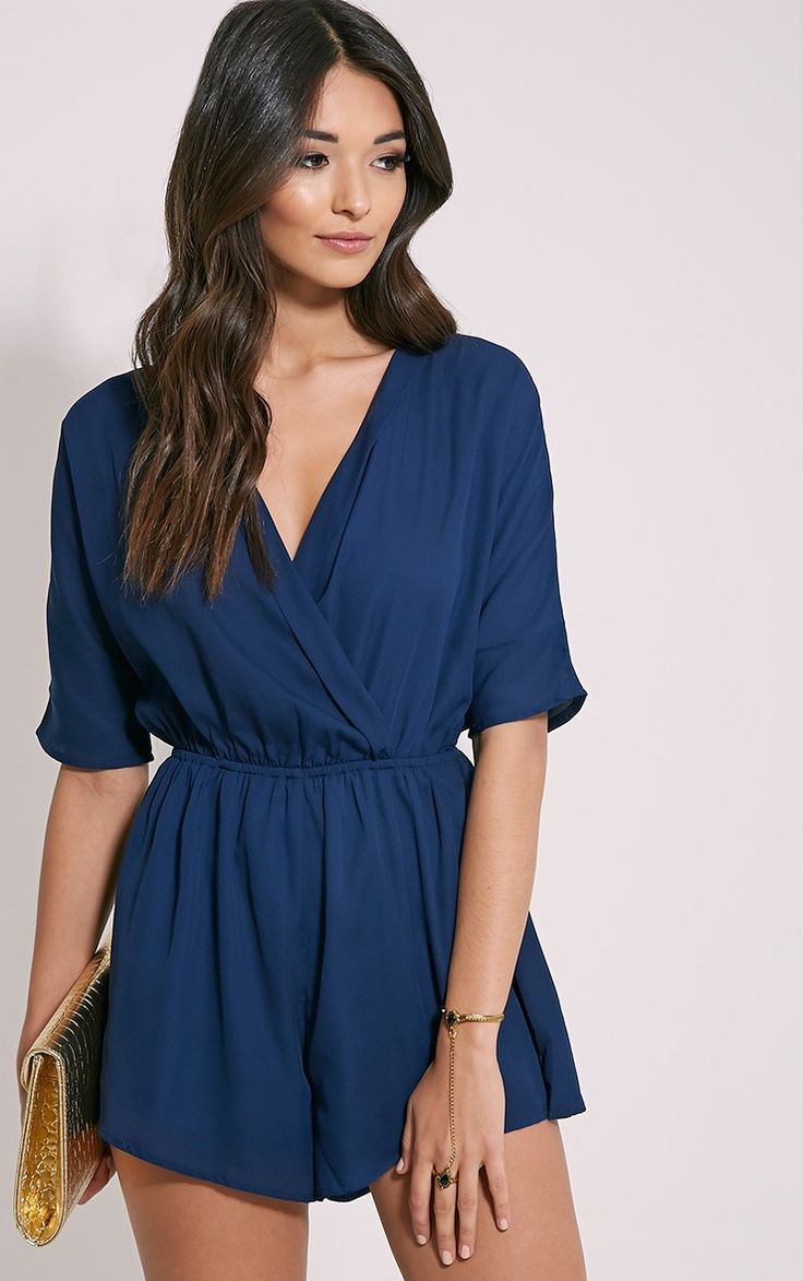Bobby Navy Wrap Front Playsuit