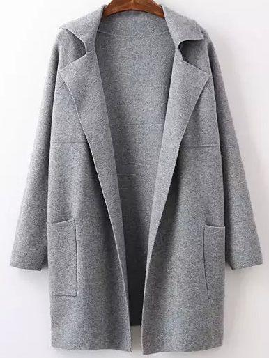 Sweater Mantel Langarm mit Taschen - grau- German SheIn(Sheinside)
