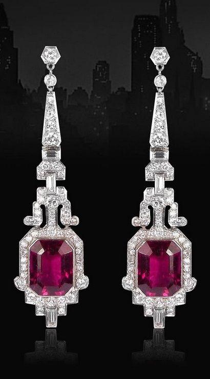 A pair of Art Deco tourmaline and diamond earrings, circa 1925.