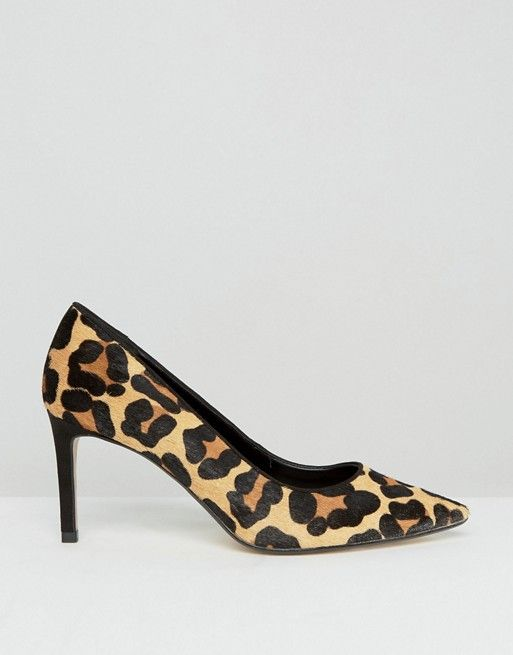 Dune Wide Fit | Zapatos de salón de corte ancho de piel de poni con estampado de leopardo de Dune