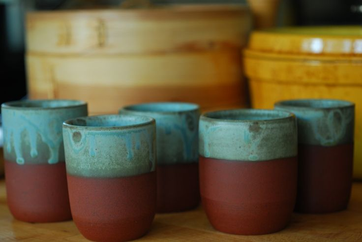 red clay & turquoise glaze