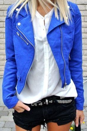 campera de cuero azul