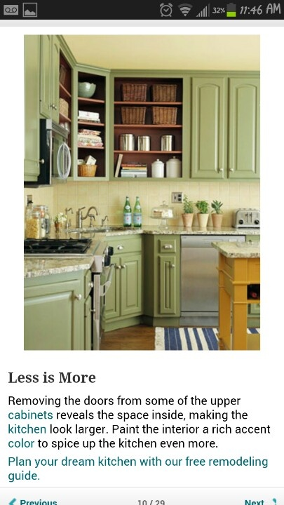 Kitchen cabinets - love the green! Would pair with a light creamy yellow wall color and dark hardwood floors for a sunflower kitchen