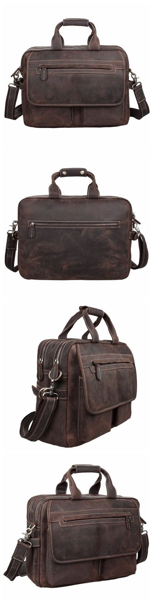 Handmade Vintage Style Leather Briefcase Messenger Bag Satchel Bag Crossbody Shoulder Bag