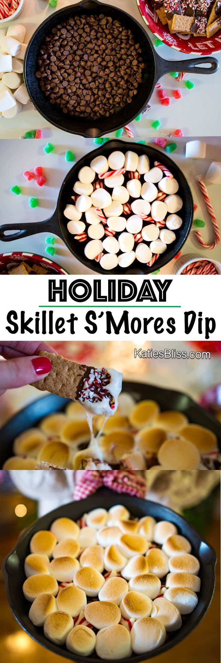 Holiday Skillet S'mores Dip Recipe via @katiesbliss  #desserts #holidayrecipes #baking #smores #skilletsmores #chocolate #delicious #foodie #nomnomnom