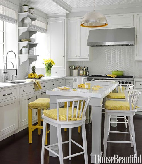 Yellow kitchen: Kitchens Design, Wallpapers Ceilings, Interiors Design, Design Kitchens, Modern Kitchens, Yellow Accent, Kitchens Stools, White Kitchens, Christina Murphy