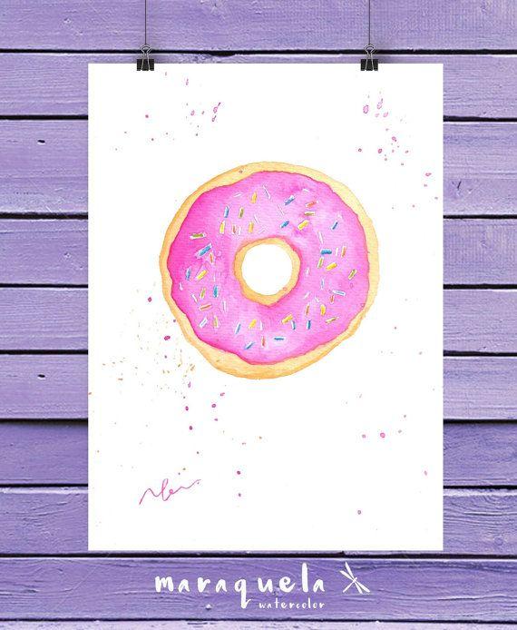 DONUT in watercolor. Original illustration, doughnut. Bright and vibrant colors. Modern decor art wall.Fashion Room Decor, cake, food prints. DONUT Acuarela original. DONUTS tonos y colores vibrantes. Ilustración donuts, lamina moderna chicas, ilustración alegre, colores vivos