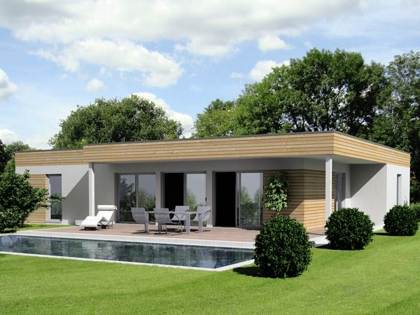 Traum Bungalow Haus Design - archaische Formen - Stein / Beton + Holz Traum Bungalow Haus Design Planung - Traum Haus Konzept in klaren Formen und Materialien gehalten. Großzügige Raumgestaltungen mit vielen Fensterfronten.