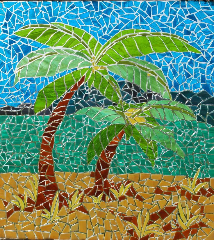 Stained Glass Mosaic by Booker Glass. Palm Trees. About 22x 28. Glass on Glass, not grouted, this picture shows what the piece looks like with light coming through from the back.