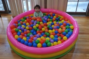 If you can do a ball pit, kids love it! Inflatable pool and rainbow-colored balls. Big hit at L's 1st birthday and making a reappearance this year. :)