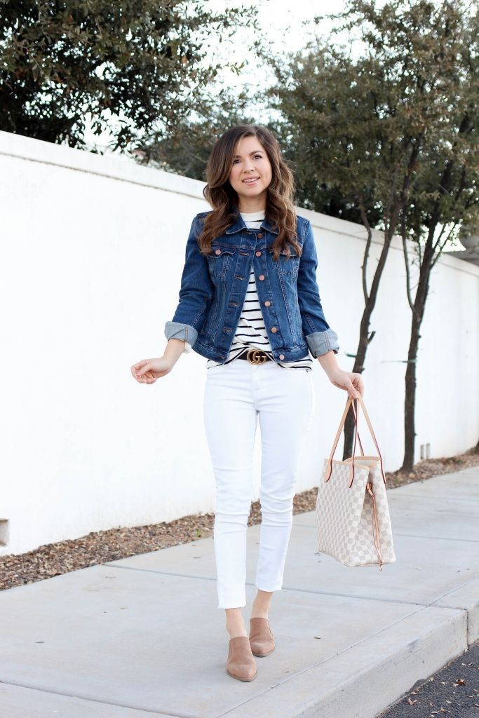 How To Style A Denim Jacket With White Jeans And A Mules How To Wear Denim Jacket Denim Jacket Fashion Jeans Outfit Women
