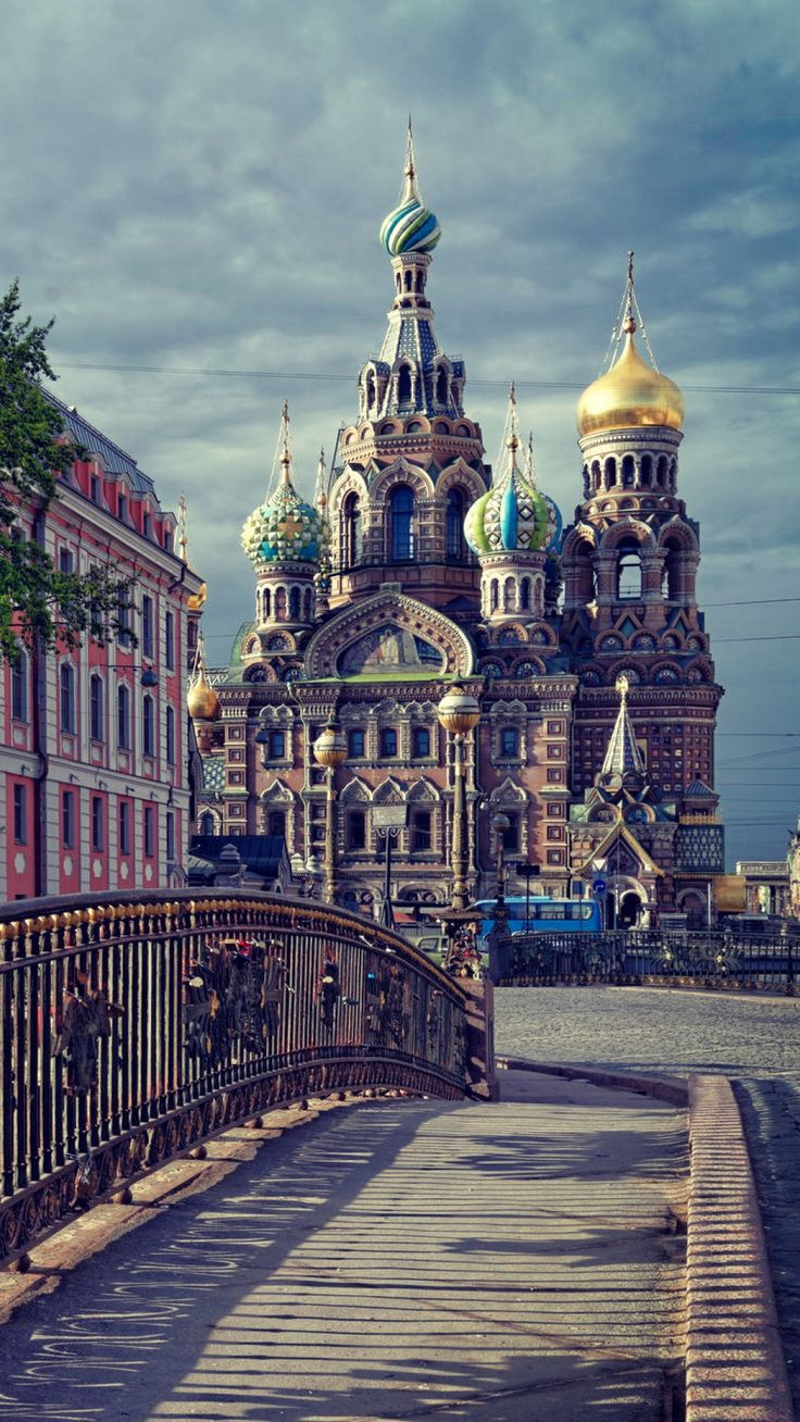 st petersburg, russia, temple, the savior on the spilled blood, dome, bridge, clouds