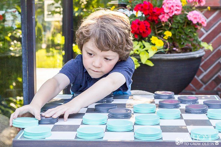 Giant Checkers Game from Mason Jar Lids