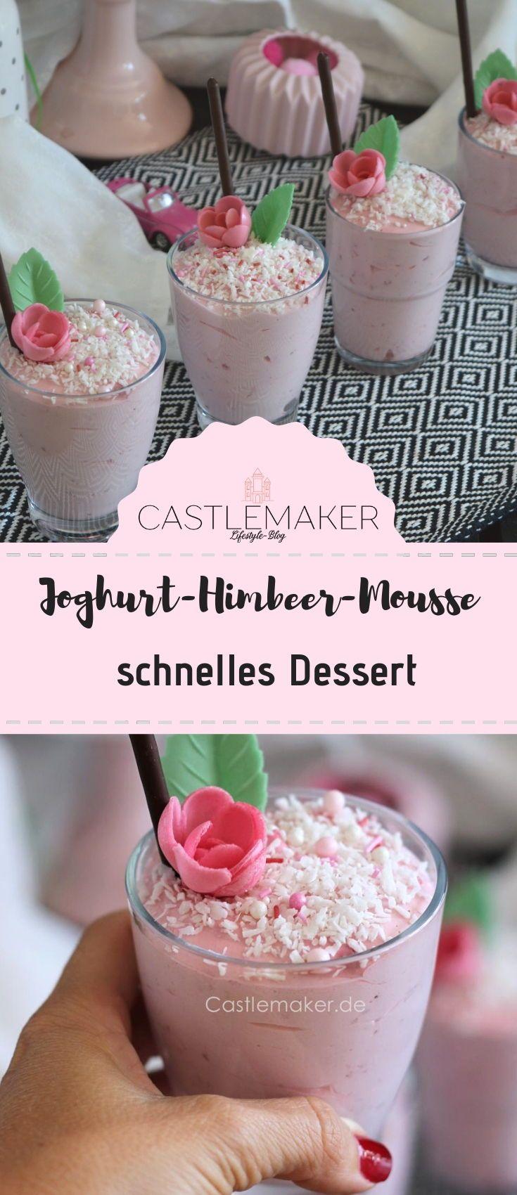 Himbeer-Joghurt-Mousse mit Kokostopping – schnelles Dessert
