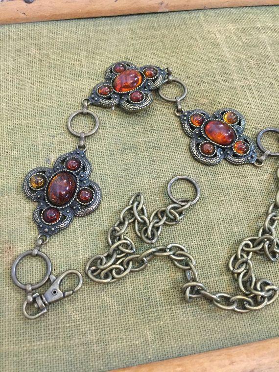 Vintage Boho Metal Chain Belt with Burnished by BirchEdenVintage