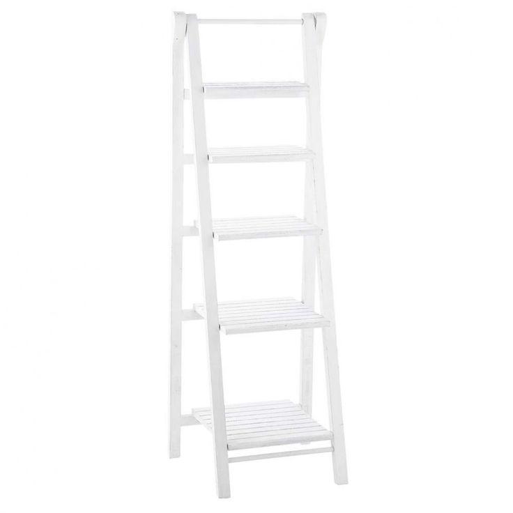 Estantería-escalera de madera blanca An. 46 cm Freeport