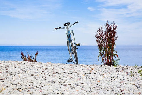 Bicycle on the beach on Gotland Sweden