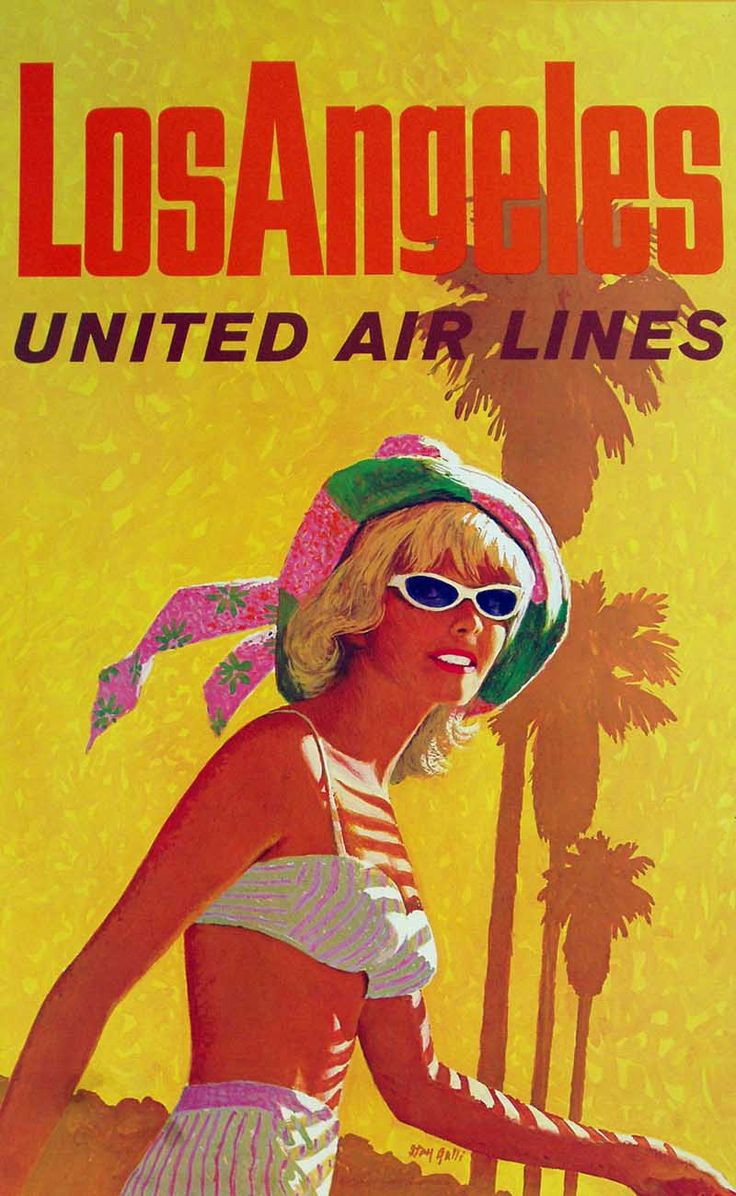 Poster design los angeles - United Air Lines Los Angeles Poster By Stan Galli 1960