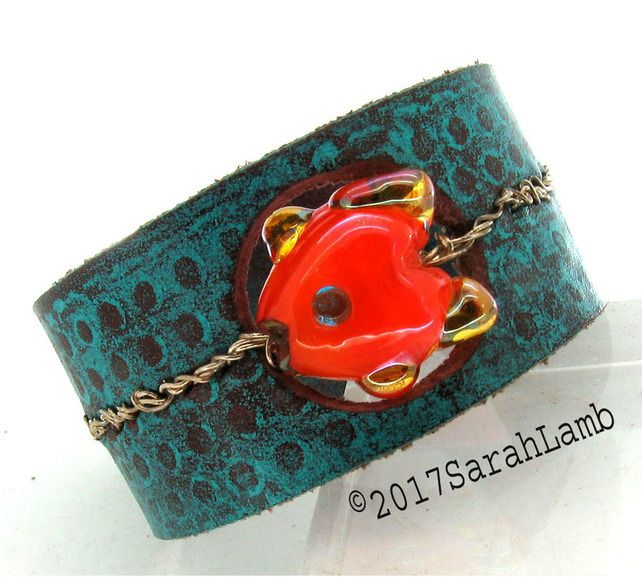 leather cuff with lampwork  glass bead £25.00