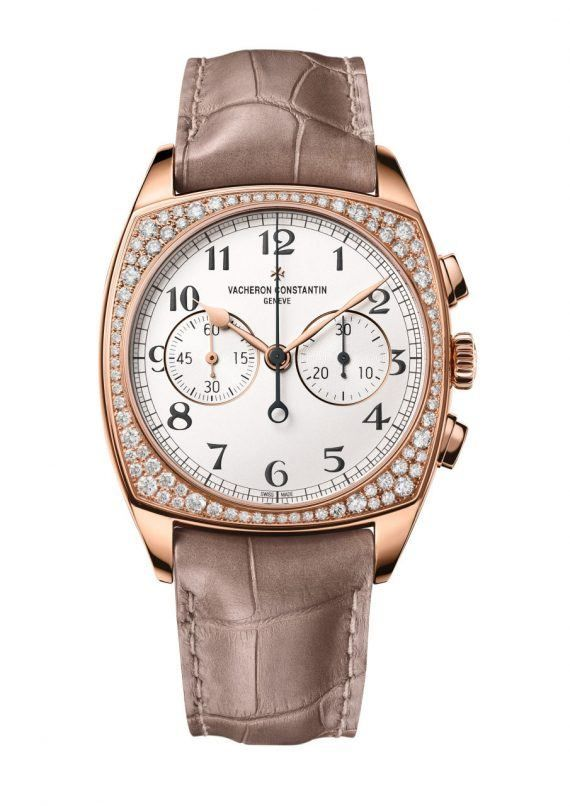 Vacheron Constantin Harmony Chronograph Small Mode - this ladies' diamond-set version has a bezel set with 84 high-quality round-cut diamonds totaling 1.2 carats.  The case measures 37 mm (wide) and the movement is the manual-winding, chronograph-equipped Caliber 1142. More @ http://www.watchtime.com/wristwatch-industry-news/watches/new-vacheron-constantin-harmony-watches-to-debut-at-watchtime-new-york-2016/ #vacheronconstantin #watchtime #ladieswatches #chronograph