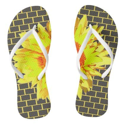 Yellow Sunflower Accented Gray Brick Yellow Flip Flops - sunflowers sunflower gifts floral flowers cyo gift idea unique