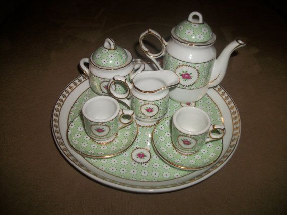 Miniature Doll Tea Service 10 Piece China/ by Mckcampbell on Etsy